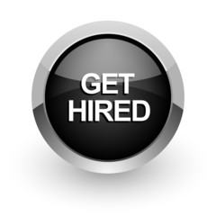 get hired black chrome glossy web icon