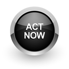 act now black chrome glossy web icon