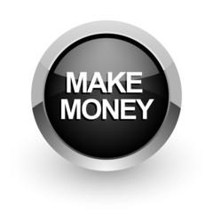 make money black chrome glossy web icon
