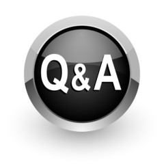 question answer black chrome glossy web icon