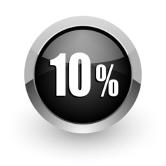10 percent black chrome glossy web icon