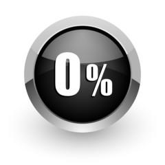0 percent black chrome glossy web icon