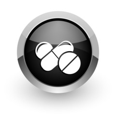medicine black chrome glossy web icon