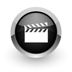 video black chrome glossy web icon