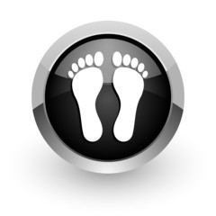 foot black chrome glossy web icon