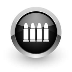 ammunition black chrome glossy web icon