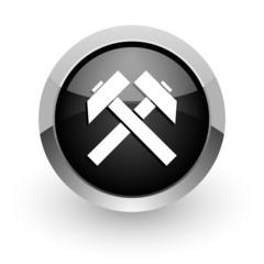 mining black chrome glossy web icon