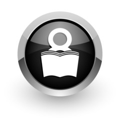 book black chrome glossy web icon
