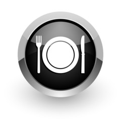restaurant black chrome glossy web icon