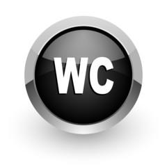toilet black chrome glossy web icon