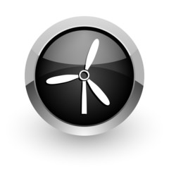 windmill black chrome glossy web icon