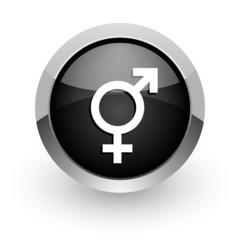 sex black chrome glossy web icon