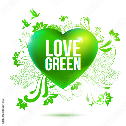 Green ecology theme heart - 68344159