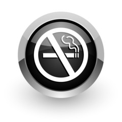 no smoking black chrome glossy web icon
