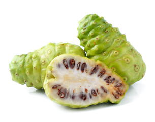 Noni Indian Mulberry fruit on white background