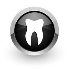 tooth black chrome glossy web icon