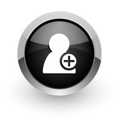 add contact black chrome glossy web icon