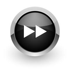 rewind black chrome glossy web icon