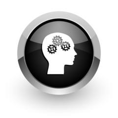 head black chrome glossy web icon