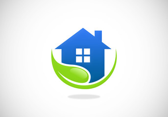 clean house leaf garden vector logo