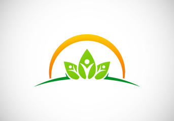 ecology vegetarian health people vector logo