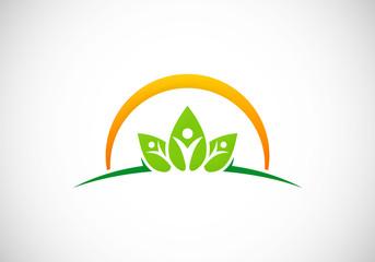 ecology vegetarian health people vector logo