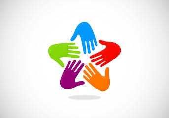 hands circular unity abstract vector logo