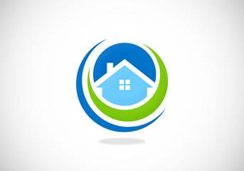 home-realty-circle-symbol-vector-logo