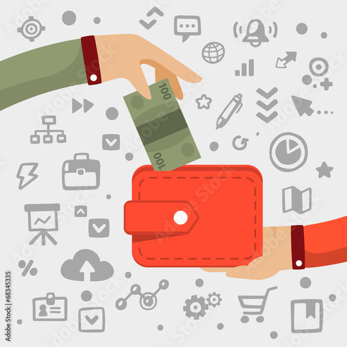 Bright vector illustration male  hand gives green banknote to re