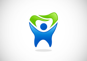 tooth dentist people fresh vector logo