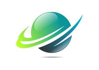 green sphere success finance growth logo