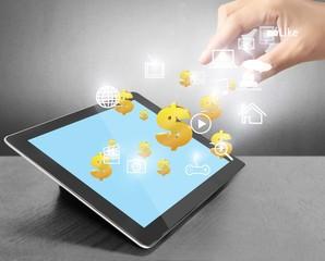Successful business news on digital tablet