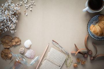 Office desk,Working on a Spring Table,vintage background