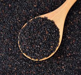 Black sesame seed, cereal, food agriculture background.
