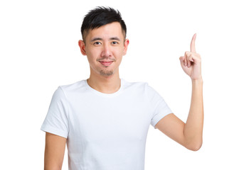 Young man with finger up