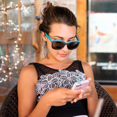 Pretty girl texting