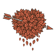 Heart of leaves with arrow. Vector illustration.