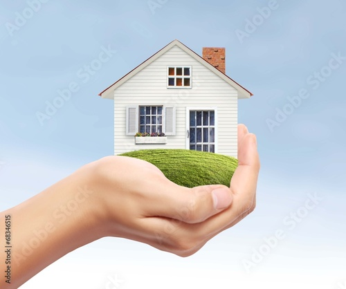 canvas print picture house in hand