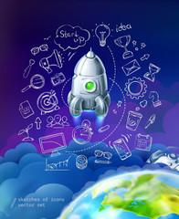 Start up, business infographics vector set