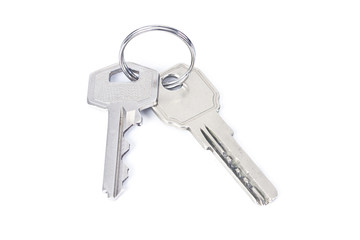 set of two keys on the keychain isolated on white background