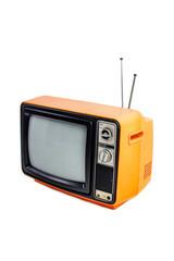 Orange vintage style old television isolated on white