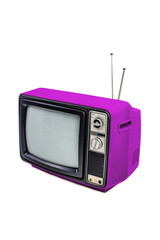 Purple vintage style old television isolated on white