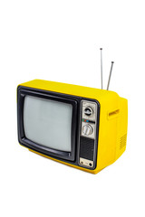 Yellow vintage style old television isolated on white