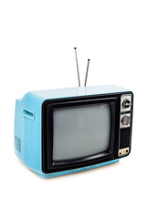 Blue vintage style old television isolated on white