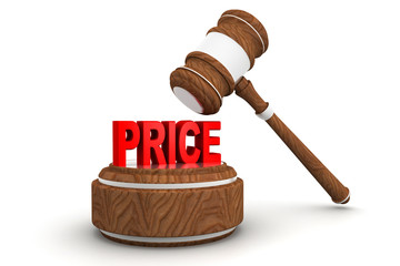 price word and gavel on a white background