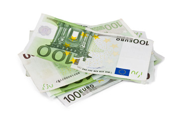 Euro banknotes isolated on white background, currencies