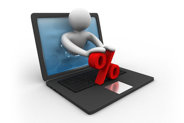 3d man with laptop and percentage symbol. Online shopping.
