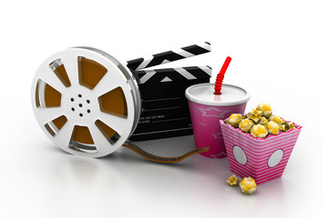 film slate, movie reel, popcorn and cup of cola