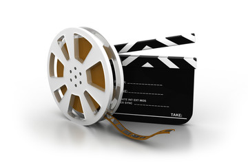 3d illustration of film slate, movie reel .