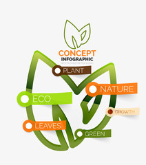 Eco leaves infographic concept